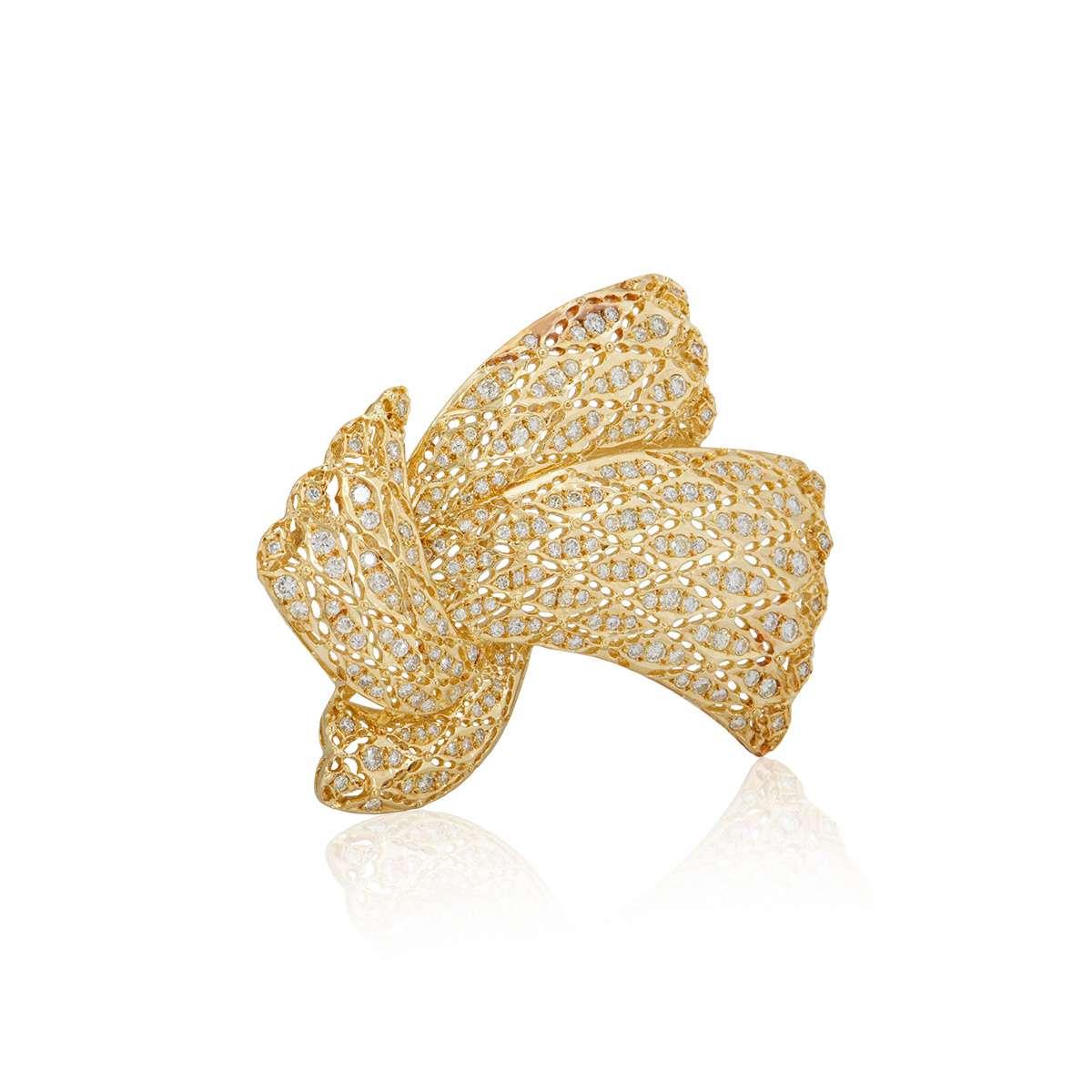 Yellow Gold Diamond Bow Brooch